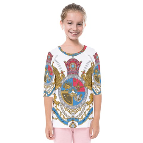 Sovereign Coat Of Arms Of Iran (order Of Pahlavi), 1932-1979 Kids  Quarter Sleeve Raglan Tee by abbeyz71