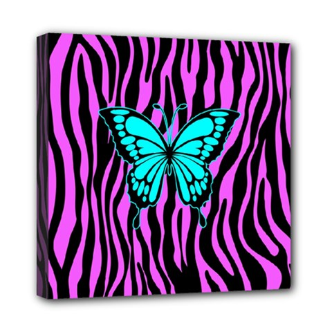 Zebra Stripes Black Pink   Butterfly Turquoise Mini Canvas 8  X 8  by EDDArt