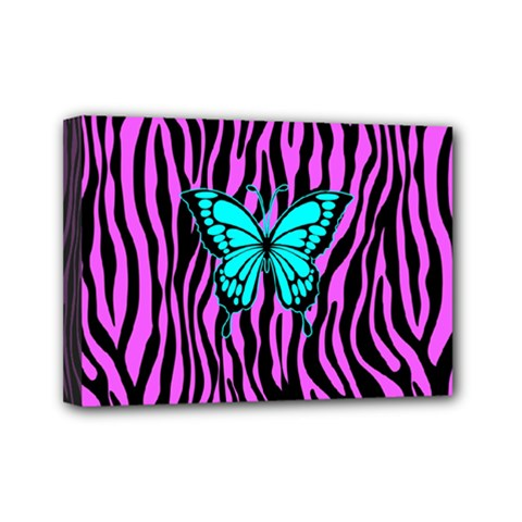 Zebra Stripes Black Pink   Butterfly Turquoise Mini Canvas 7  X 5  by EDDArt