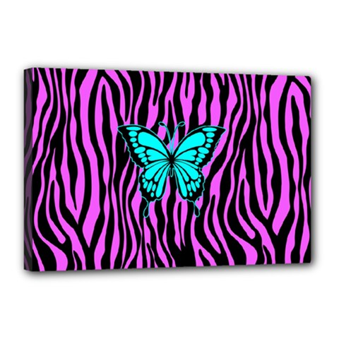 Zebra Stripes Black Pink   Butterfly Turquoise Canvas 18  X 12  by EDDArt