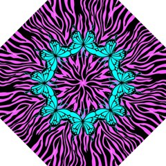 Zebra Stripes Black Pink   Butterfly Turquoise Straight Umbrellas by EDDArt