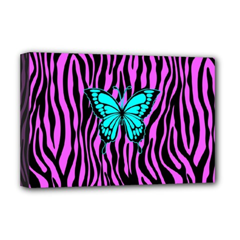Zebra Stripes Black Pink   Butterfly Turquoise Deluxe Canvas 18  X 12   by EDDArt