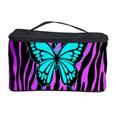 Zebra Stripes Black Pink   Butterfly Turquoise Cosmetic Storage Case by EDDArt
