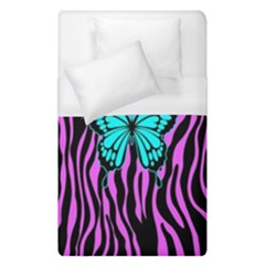 Zebra Stripes Black Pink   Butterfly Turquoise Duvet Cover (single Size) by EDDArt