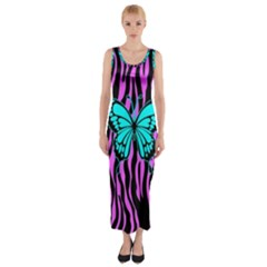 Zebra Stripes Black Pink   Butterfly Turquoise Fitted Maxi Dress by EDDArt