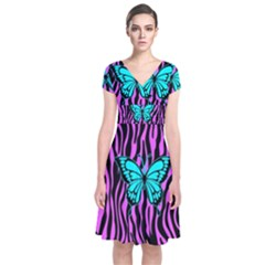 Zebra Stripes Black Pink   Butterfly Turquoise Short Sleeve Front Wrap Dress