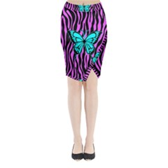 Zebra Stripes Black Pink   Butterfly Turquoise Midi Wrap Pencil Skirt by EDDArt