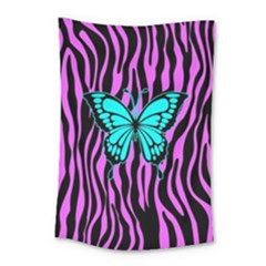 Zebra Stripes Black Pink   Butterfly Turquoise Small Tapestry by EDDArt