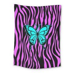 Zebra Stripes Black Pink   Butterfly Turquoise Medium Tapestry by EDDArt