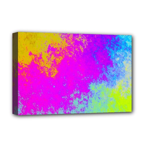 Grunge Radial Gradients Red Yellow Pink Cyan Green Deluxe Canvas 18  X 12   by EDDArt