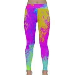 Grunge Radial Gradients Red Yellow Pink Cyan Green Classic Yoga Leggings by EDDArt
