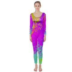 Grunge Radial Gradients Red Yellow Pink Cyan Green Long Sleeve Catsuit by EDDArt