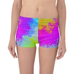 Grunge Radial Gradients Red Yellow Pink Cyan Green Boyleg Bikini Bottoms by EDDArt