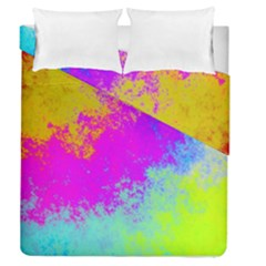 Grunge Radial Gradients Red Yellow Pink Cyan Green Duvet Cover Double Side (queen Size) by EDDArt