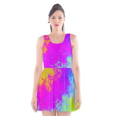 Grunge Radial Gradients Red Yellow Pink Cyan Green Scoop Neck Skater Dress by EDDArt