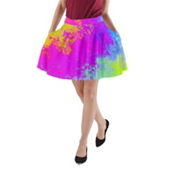Grunge Radial Gradients Red Yellow Pink Cyan Green A Line Pocket Skirt by EDDArt