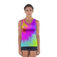 Grunge Radial Gradients Red Yellow Pink Cyan Green Women s Sport Tank Top  by EDDArt