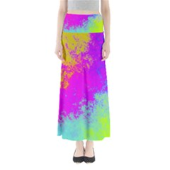Grunge Radial Gradients Red Yellow Pink Cyan Green Maxi Skirts by EDDArt