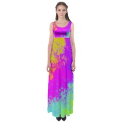 Grunge Radial Gradients Red Yellow Pink Cyan Green Empire Waist Maxi Dress by EDDArt