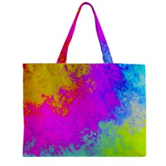 Grunge Radial Gradients Red Yellow Pink Cyan Green Medium Zipper Tote Bag by EDDArt
