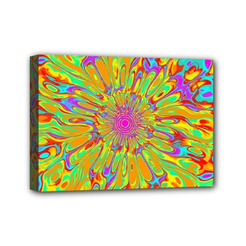 Magic Ripples Flower Power Mandala Neon Colored Mini Canvas 7  X 5  by EDDArt
