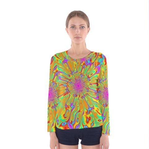 Magic Ripples Flower Power Mandala Neon Colored Women s Long Sleeve Tee by EDDArt