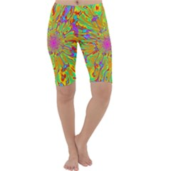 Magic Ripples Flower Power Mandala Neon Colored Cropped Leggings  by EDDArt