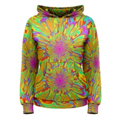 Magic Ripples Flower Power Mandala Neon Colored Women s Pullover Hoodie