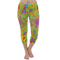Magic Ripples Flower Power Mandala Neon Colored Capri Winter Leggings  by EDDArt