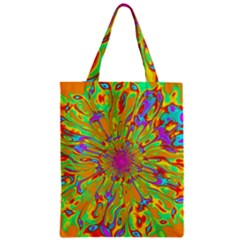 Magic Ripples Flower Power Mandala Neon Colored Zipper Classic Tote Bag by EDDArt