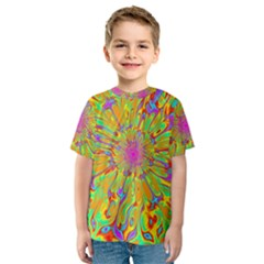 Magic Ripples Flower Power Mandala Neon Colored Kids  Sport Mesh Tee