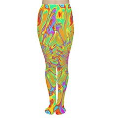 Magic Ripples Flower Power Mandala Neon Colored Women s Tights by EDDArt