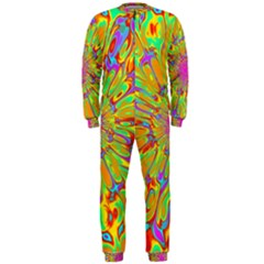 Magic Ripples Flower Power Mandala Neon Colored Onepiece Jumpsuit (men)  by EDDArt
