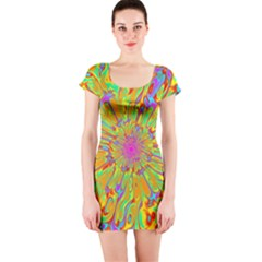 Magic Ripples Flower Power Mandala Neon Colored Short Sleeve Bodycon Dress
