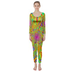 Magic Ripples Flower Power Mandala Neon Colored Long Sleeve Catsuit
