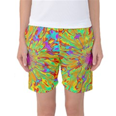 Magic Ripples Flower Power Mandala Neon Colored Women s Basketball Shorts