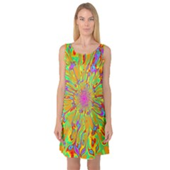 Magic Ripples Flower Power Mandala Neon Colored Sleeveless Satin Nightdress