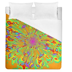 Magic Ripples Flower Power Mandala Neon Colored Duvet Cover (queen Size)