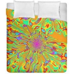 Magic Ripples Flower Power Mandala Neon Colored Duvet Cover Double Side (california King Size)