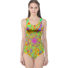 Magic Ripples Flower Power Mandala Neon Colored One Piece Swimsuit by EDDArt