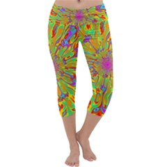 Magic Ripples Flower Power Mandala Neon Colored Capri Yoga Leggings
