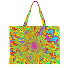 Magic Ripples Flower Power Mandala Neon Colored Zipper Large Tote Bag