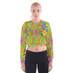 Magic Ripples Flower Power Mandala Neon Colored Cropped Sweatshirt