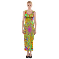 Magic Ripples Flower Power Mandala Neon Colored Fitted Maxi Dress