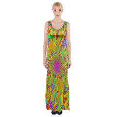Magic Ripples Flower Power Mandala Neon Colored Maxi Thigh Split Dress by EDDArt