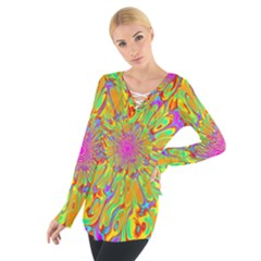 Magic Ripples Flower Power Mandala Neon Colored Women s Tie Up Tee by EDDArt
