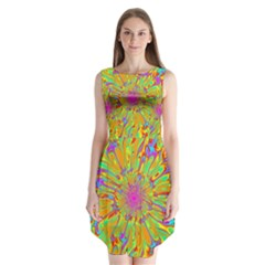 Magic Ripples Flower Power Mandala Neon Colored Sleeveless Chiffon Dress   by EDDArt