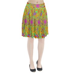 Magic Ripples Flower Power Mandala Neon Colored Pleated Skirt by EDDArt