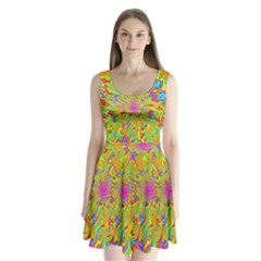 Magic Ripples Flower Power Mandala Neon Colored Split Back Mini Dress  by EDDArt