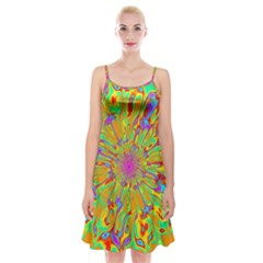 Magic Ripples Flower Power Mandala Neon Colored Spaghetti Strap Velvet Dress by EDDArt